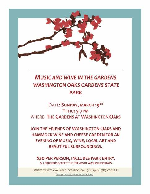 Music and wine in the gardens flyer